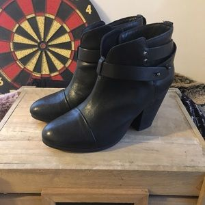 rag & bone harrow 38.5 black leather booties